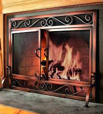free standing fireplace screens metal screen with doors glass