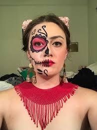 first trial of frida kahlo sugar skull makeup