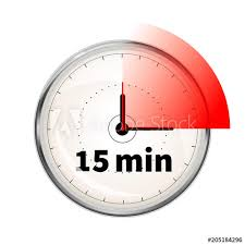 Start 15 Minute Timer Realistic Clock Face With Fifteen Minutes Timer On White
