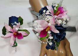 navy blue hot pink fuchsia rose & orchid prom or wedding flowers Wedding Colors Navy And Pink navy blue hot pink fuchsia rose & orchid prom or wedding flowers corsages & boutonnieres set wedding colors navy blue and pink