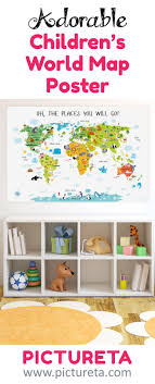 Children's World Map Poster, Unique Baby Gift, Nursery Decor, Nursery Wall  Art