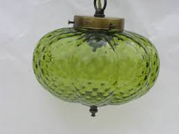 retro 70s vintage hanging light swag lamp lime green melon shape glass shade