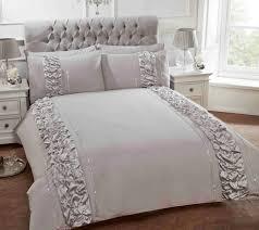 provence grey ruffled duvet cover luxury grey ruffled bedding single double kingsize
