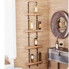 rustic kitchen wood wall shelf metal
