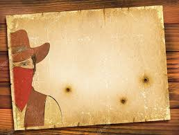 old paper background with image of bandit and bullete holes west stock photo