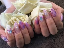 Nail Salon Freestyle大理石アートシェルストーンピンクパープル系