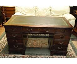 edwardian pedestal writing desk mahogany pedestal desk green leather top desk