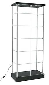 retail glass display case with lights ikea uk locking double doors
