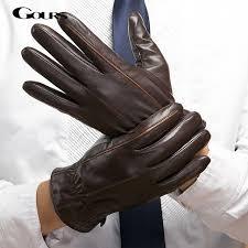 gours 2018 winter new men genuine leather gloves goatskin mittens brown plus velvet warm fashion driving