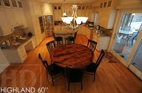 details of kitchen table 60 round pedestal table reclaimed cedar hydro pole base 2 barn floor board reclaimed hemlock top premium matte