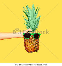 pineapple with sunglasses clipart. fashion pineapple with sunglasses on yellow background, hand holding ananas - csp35557034 clipart