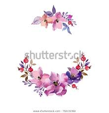 Painted Watercolor Composition Flowers Design Greeting Stock