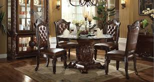 vendome 5 piece 54 inch glass top pedestal table dining set in cherry finish by acme
