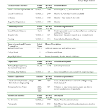 Extracurricular Activities Resume Template Examples For College