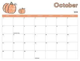 October Calendar Printable 2018 October 2018 Calendar Printable
