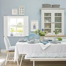 blue and white furniture. Sea Blue Dining Room With Bright White Furniture And