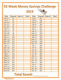 52 Week Money Challenge Printable Or 52 Week Money Savings