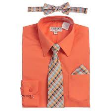 Gioberti Big Boys Coral Tie Bow Tie Handkerchief Dress Shirt 4 Pc Set 8 18