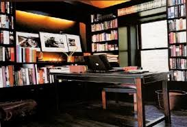 office ideas for men. The Lush Dark Sensation With Many Books Collection And Warm Lighting Home Decorating Ideas Men Black Furniture Office For E