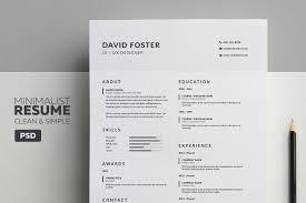 Minimalist Resume Cv David Resume Templates Creative Market
