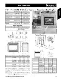 zero clearance direct vent gas fireplace p121 p131 ng2 manuals