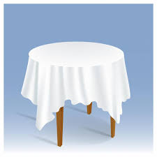 free vector wood round table with tablecloth