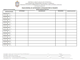 Formatos De Cronogramas De Actividades Modelo Del Formato Del Plan General De Actividades A Realizar Por El