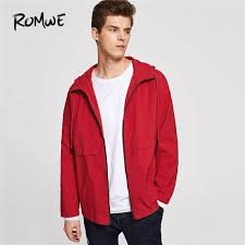 men red pocket zip up drawstring hooded jacket mens jackets and coats clothes casual autumn 2018 clothing male outerwear white jeans leather jacket mens