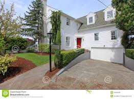 red front door white house. House Colonial White With Red Door Exterior Front. Front