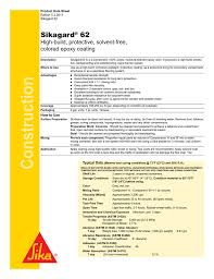 Sikagard 62 Color Chart Sikagard 62 Coating Product Data Sheet Manualzz Com