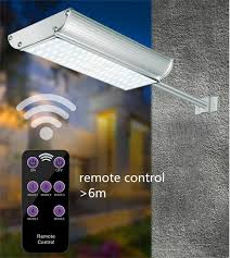 2019 5 mode solar lights outdoor radar motion sensor and remote control 70led 1100lm aluminum shell security lighting for porch garage from sunway518