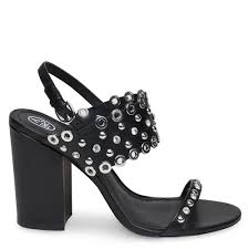 ash lucy block heeled sandals black leather