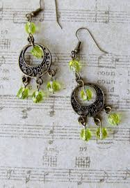 antiqued copper chandelier earrings with lime green glass beads