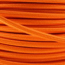 fabric lighting cable 3 core. Fabric Lighting Cable In An Orange Finish. Round 3 Core Flex