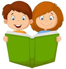 cartoon boy and reading book vector