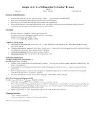 It Resume Entry Level Free Entry Level Information Technology Resume Templates At