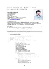 Sample Resume Format For Experienced Mechanical Engineer Fresh