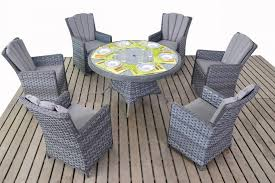 platinum rattan grey round dining table 6 chairs