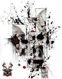 фото эскизы череп череп в стиле графика трэш трэш полька