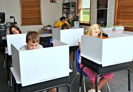 students using the 13 tall desktop study carrel