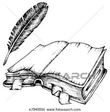 clipart drawing of opened book with feather fotosearch search clip art ilration