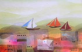 sailing original abstract painting of boats