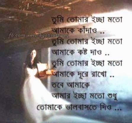 bengali sad poem of love