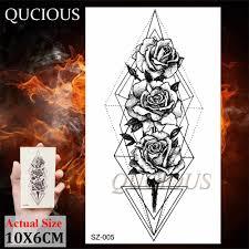 геометрические треугольные розы временные татуировки для женщин рука шеи хна