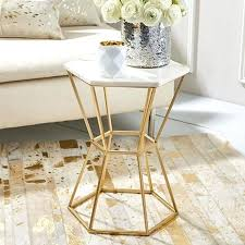 white and gold side table hexagonal marble top accent table with gold base materials invigorate and white and gold side table