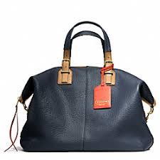 ... SOFT TRAVEL SATCHEL IN PEBBLED LEATHER - f25308 - BRASS MIDNIGHT