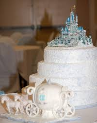 Large Round Four Tier White Cinderella Castle Wedding Cake With