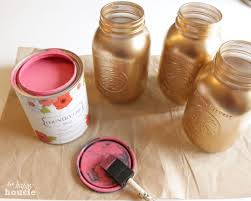 pink and gold chalk painted mason jars using country chic paint at the happy housie