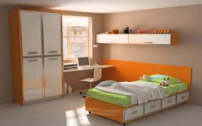 astounding home interior teenage small bedroom desig ideas with shiny orange wooden bedding set including white bedroom furniture for small rooms