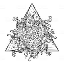 Alchemic Element Of Fire Sign Triangle Pointing Up With Rose Garland
